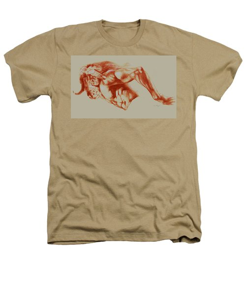 North American Minotaur Red Sketch Heathers T-Shirt by Derrick Higgins