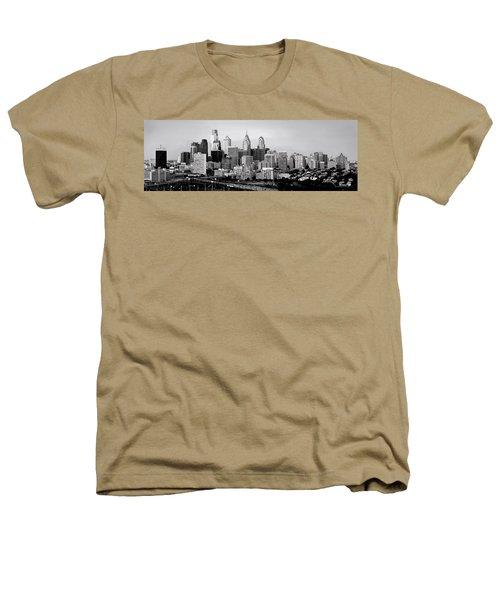 Philadelphia Skyline Black And White Bw Pano Heathers T-Shirt by Jon Holiday