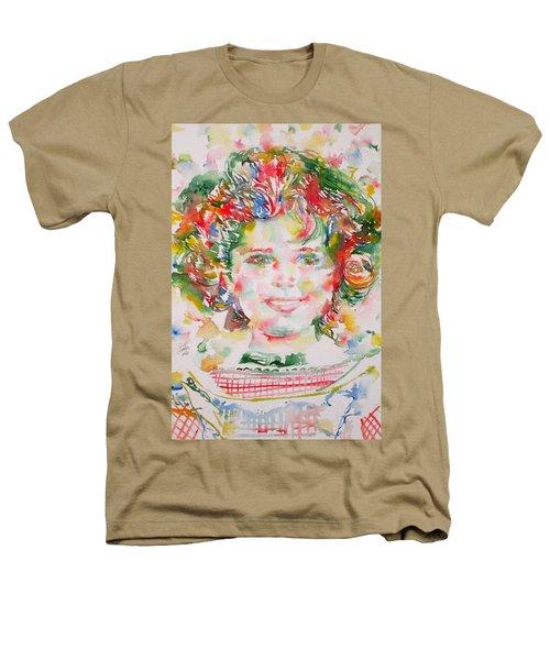Shirley Temple - Watercolor Portrait.1 Heathers T-Shirt by Fabrizio Cassetta