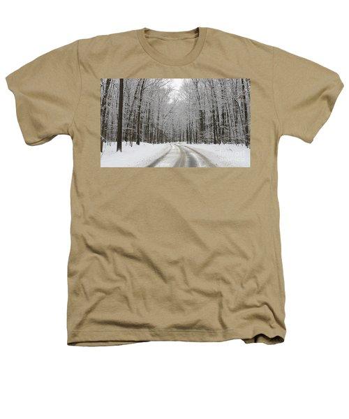 Snowy Road In Oak Openings 7058 Heathers T-Shirt by Jack Schultz