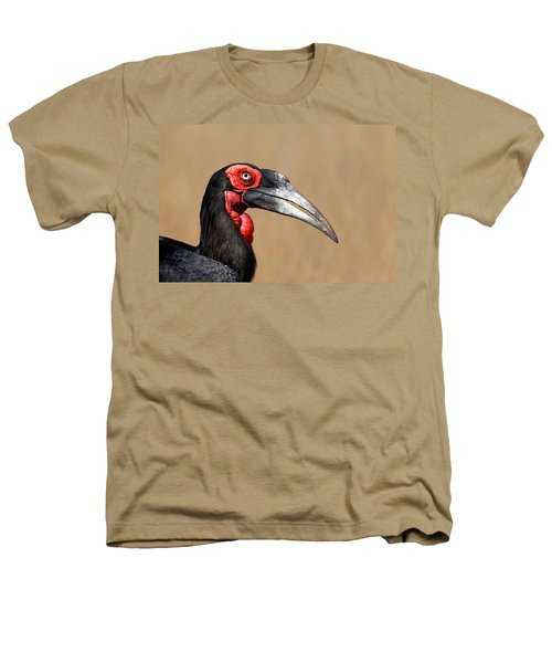 Southern Ground Hornbill Portrait Side View Heathers T-Shirt by Johan Swanepoel