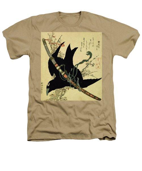 The Little Raven With The Minamoto Clan Sword Heathers T-Shirt by Katsushika Hokusai