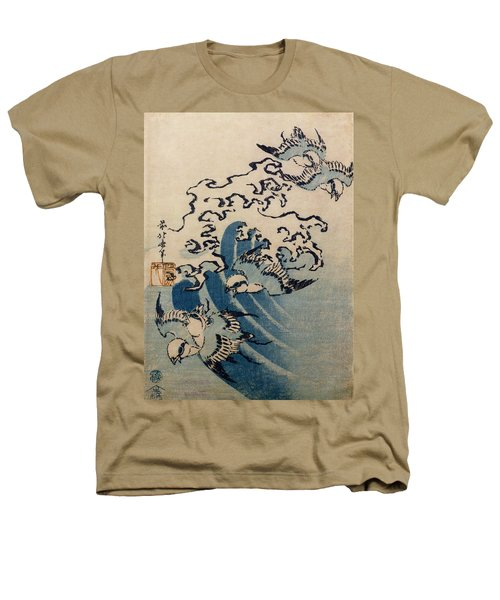 Waves And Birds Heathers T-Shirt by Katsushika Hokusai