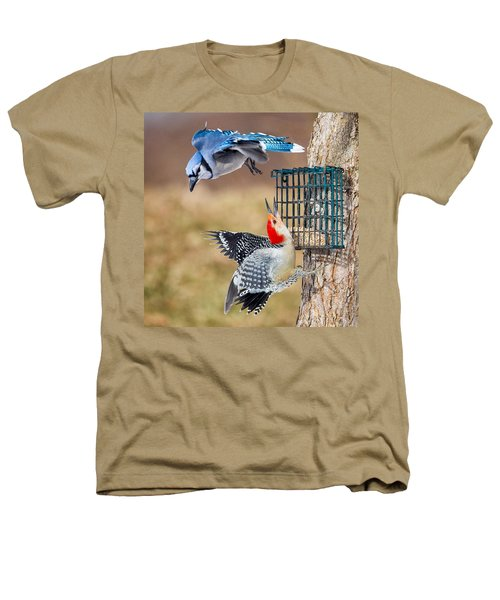 Woodpeckers And Blue Jays Square Heathers T-Shirt by Bill Wakeley