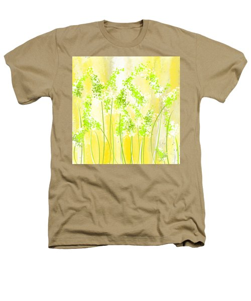 Yellow And Green Art Heathers T-Shirt by Lourry Legarde