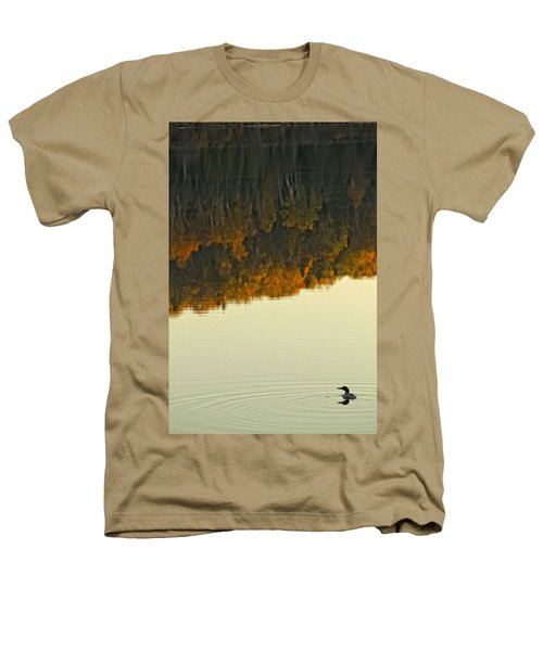 Loon In Opeongo Lake With Reflection Heathers T-Shirt by Robert Postma