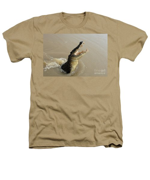 Salt Water Crocodile 2 Heathers T-Shirt by Bob Christopher