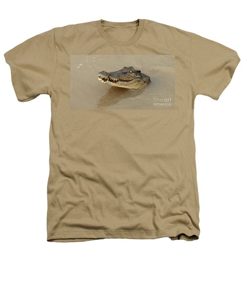 Salt Water Crocodile 3 Heathers T-Shirt by Bob Christopher