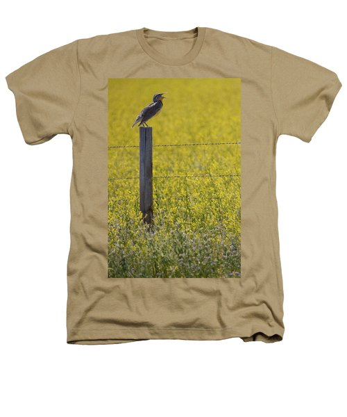 Meadowlark Singing Heathers T-Shirt by Randall Nyhof