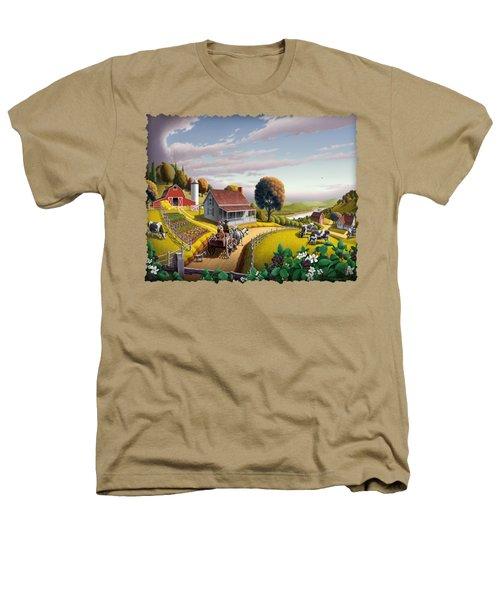 Appalachian Blackberry Patch Rustic Country Farm Folk Art Landscape - Rural Americana - Peaceful Heathers T-Shirt by Walt Curlee