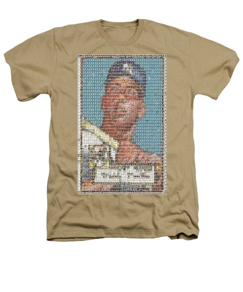1952 Topps Mickey Mantle Rookie Card Mosaic Heathers T-Shirt by Paul Van Scott