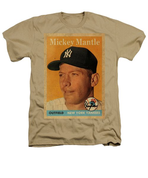1958 Topps Baseball Mickey Mantle Card Vintage Poster Heathers T-Shirt by Design Turnpike