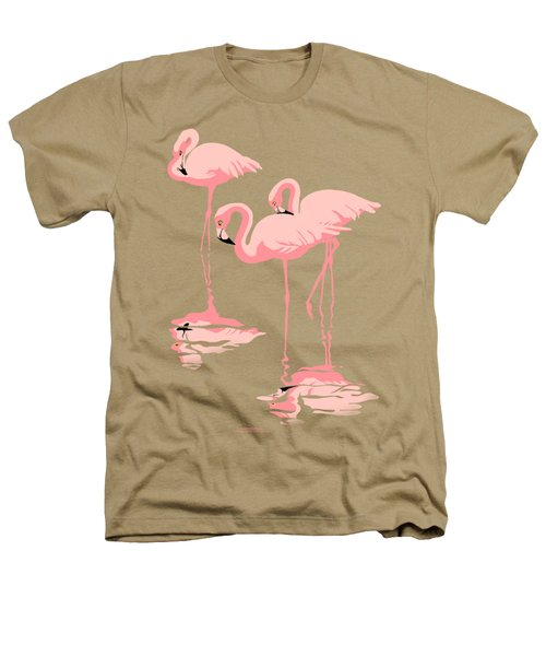 3 Pink Flamingos Abstract Pop Art Nouveau Graphic Art Retro Stylized Florida Heathers T-Shirt by Walt Curlee
