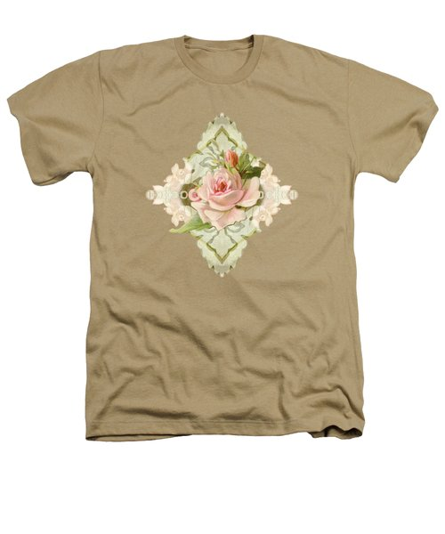 Summer At The Cottage - Vintage Style Damask Roses Heathers T-Shirt by Audrey Jeanne Roberts