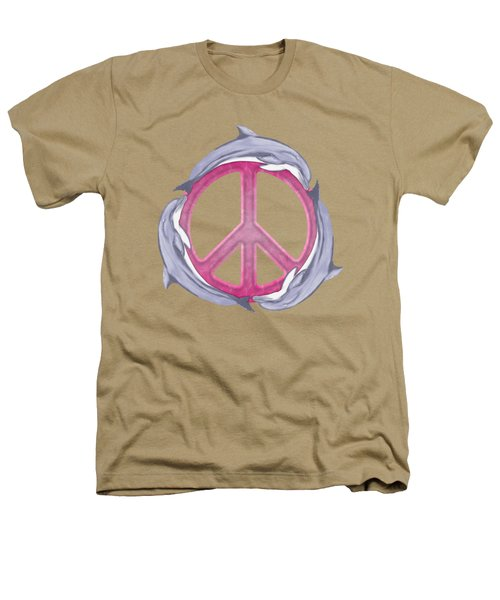 Dolphin Peace Pink Heathers T-Shirt by Chris MacDonald
