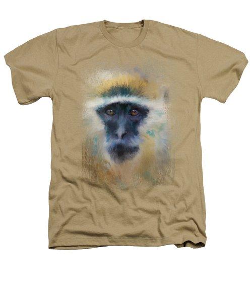 African Grivet Monkey Heathers T-Shirt by Jai Johnson