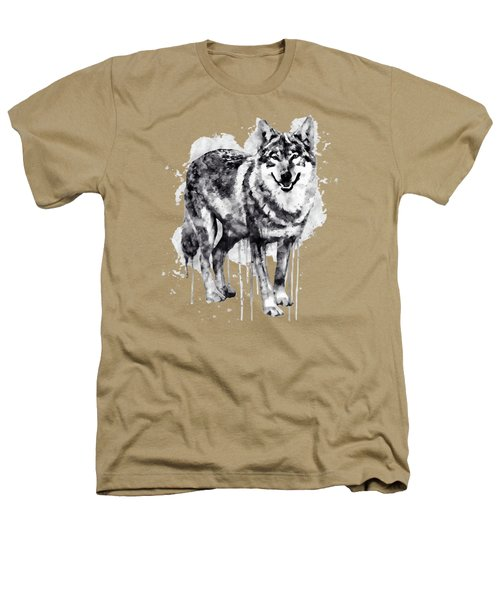 Alpha Wolf Black And White Heathers T-Shirt by Marian Voicu