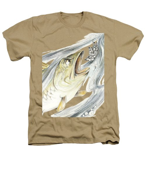 Angry Fish Ready To Swallow Tin Soldier's Paper Boat - Horizontal - Fairy Tale Illustration Fragment Heathers T-Shirt by Elena Abdulaeva