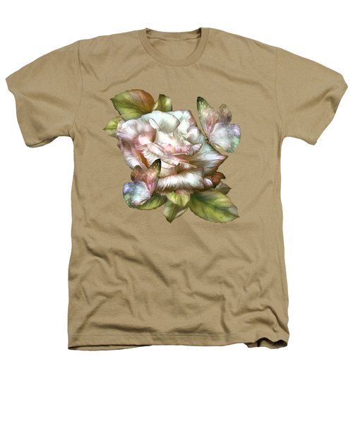 Antique Rose And Butterflies Heathers T-Shirt by Carol Cavalaris