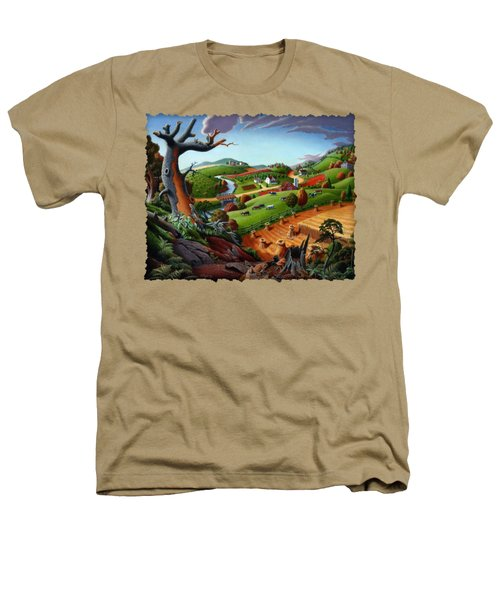 Appalachian Fall Thanksgiving Wheat Field Harvest Farm Landscape Painting - Rural Americana - Autumn Heathers T-Shirt by Walt Curlee