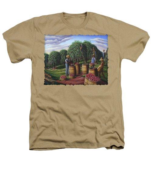 Apple Harvest - Autumn Farmers Orchard Farm Landscape - Folk Art Americana Heathers T-Shirt by Walt Curlee
