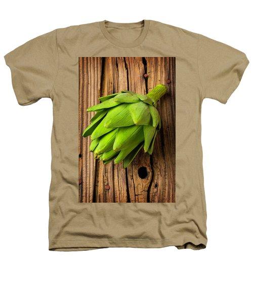 Artichoke On Old Wooden Board Heathers T-Shirt by Garry Gay