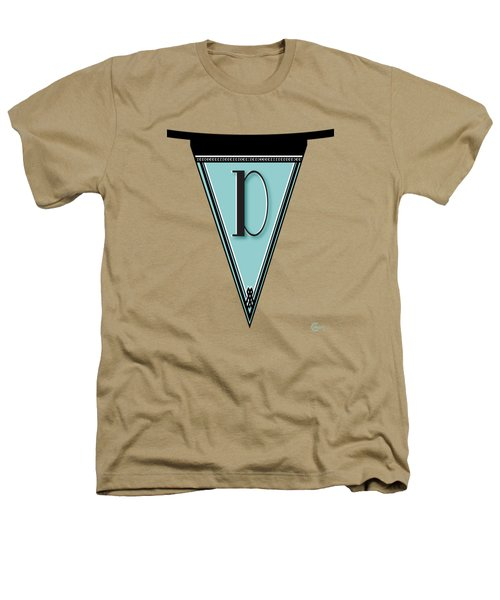 Pennant Deco Blues Banner Initial Letter D Heathers T-Shirt by Cecely Bloom