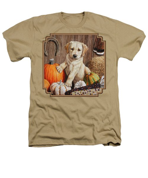 Pumpkin Puppy Heathers T-Shirt by Crista Forest