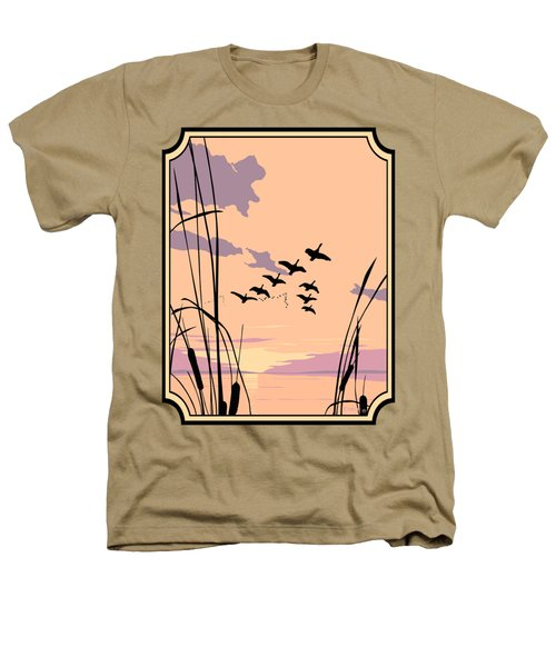 Abstract Ducks Sunset 1980s Acrylic Ducks Sunset Large 1980s Pop Art Nouveau Painting Retro      Heathers T-Shirt by Walt Curlee