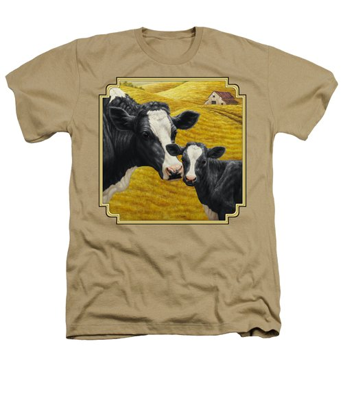 Holstein Cow And Calf Farm Heathers T-Shirt by Crista Forest