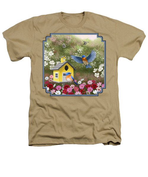 Bluebirds And Yellow Birdhouse Heathers T-Shirt by Crista Forest