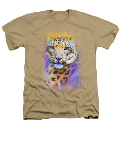 Colorful Expressions Snow Leopard Heathers T-Shirt by Jai Johnson