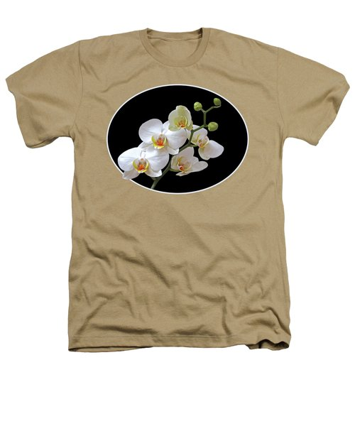 Orchids On Black And Gold Heathers T-Shirt by Gill Billington