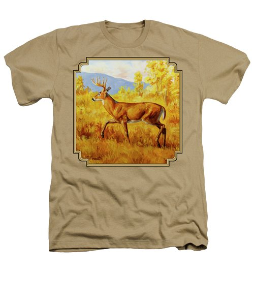Whitetail Deer In Aspen Woods Heathers T-Shirt by Crista Forest