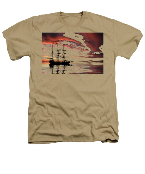Pirate Ship At Sunset Heathers T-Shirt by Shane Bechler