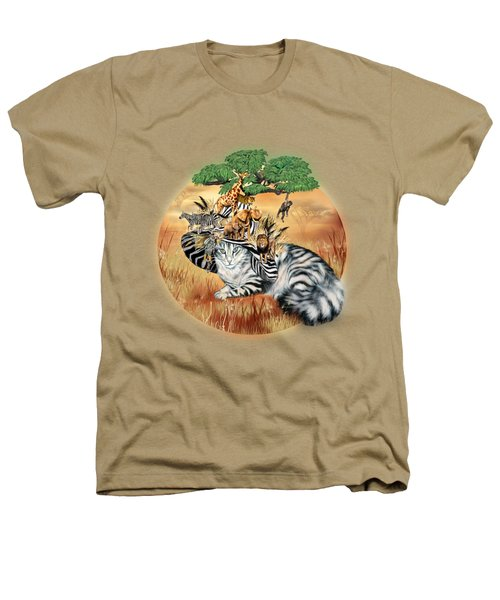 Cat In The Safari Hat Heathers T-Shirt by Carol Cavalaris