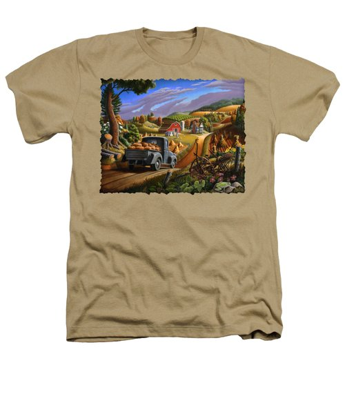 Autumn Appalachia Thanksgiving Pumpkins Rural Country Farm Landscape - Folk Art - Fall Rustic Heathers T-Shirt by Walt Curlee