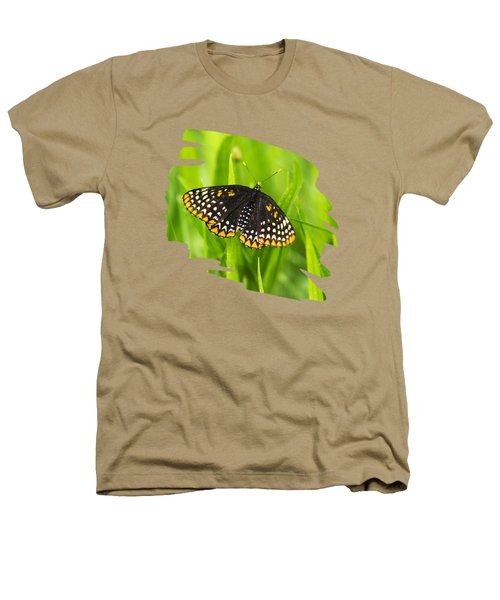 Baltimore Checkerspot Butterfly Heathers T-Shirt by Christina Rollo