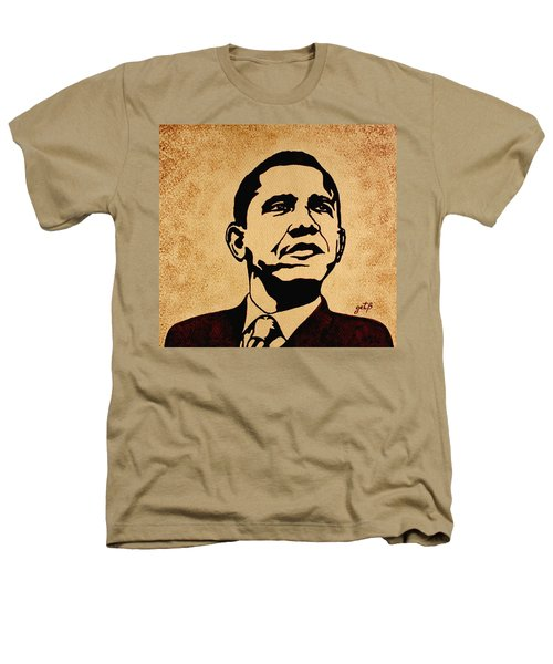 Barack Obama Original Coffee Painting Heathers T-Shirt by Georgeta  Blanaru
