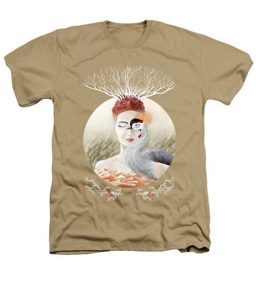 Bird Of Cranes Heathers T-Shirt by Ruta Dumalakaite