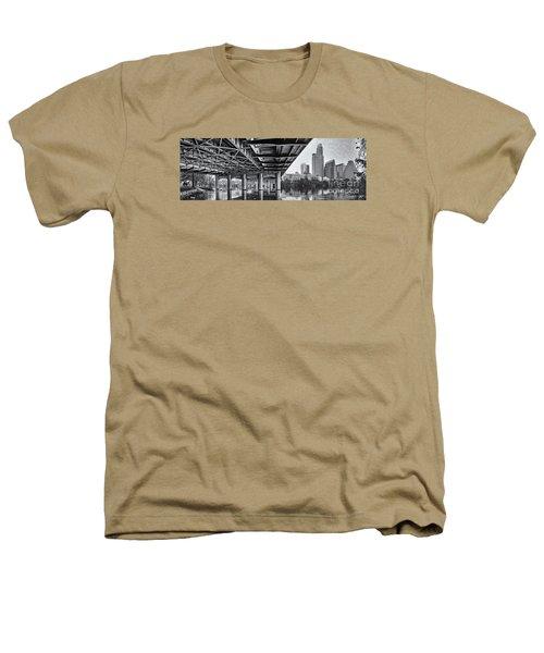 Black And White Panorama Of Downtown Austin Skyline Under The Bridge - Austin Texas  Heathers T-Shirt by Silvio Ligutti