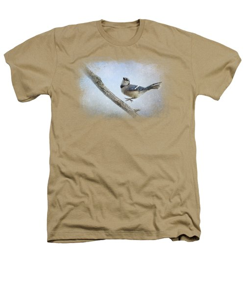 Blue Jay In The Snow Heathers T-Shirt by Jai Johnson