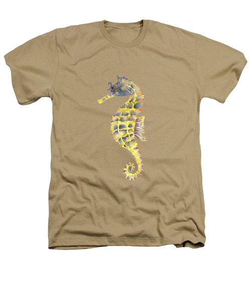 Blue Yellow Seahorse - Square Heathers T-Shirt by Amy Kirkpatrick