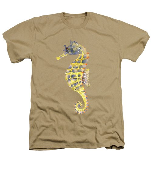 Blue Yellow Seahorse - Vertical Heathers T-Shirt by Amy Kirkpatrick