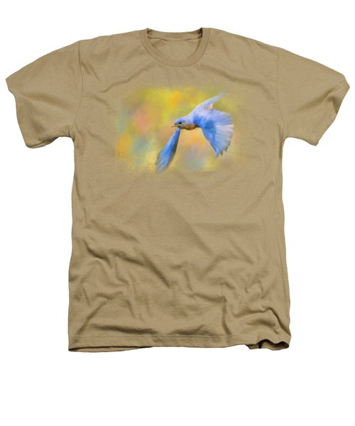 Bluebird Spring Flight Heathers T-Shirt by Jai Johnson