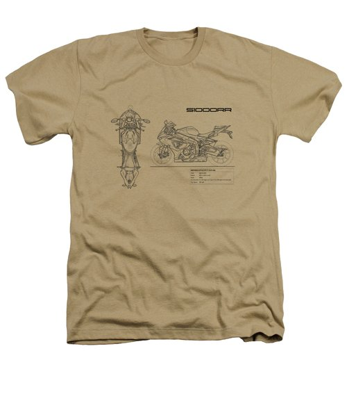 Blueprint Of A S1000rr Motorcycle Heathers T-Shirt by Mark Rogan