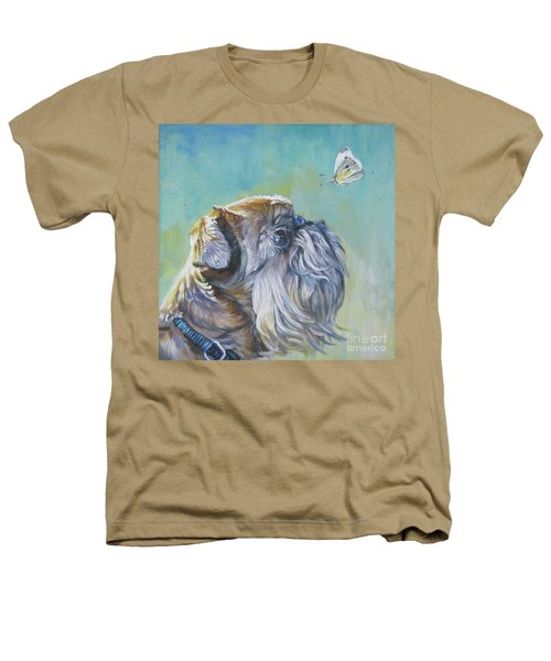 Brussels Griffon With Butterfly Heathers T-Shirt by Lee Ann Shepard