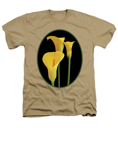 Calla Lilies - Yellow On Black Heathers T-Shirt by Gill Billington
