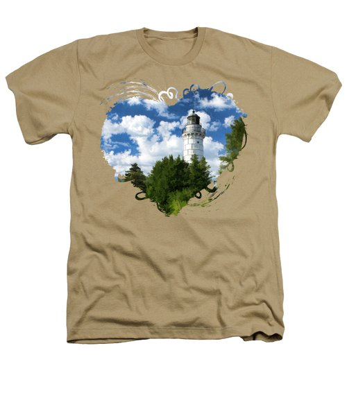 Cana Island Lighthouse Cloudscape In Door County Heathers T-Shirt by Christopher Arndt