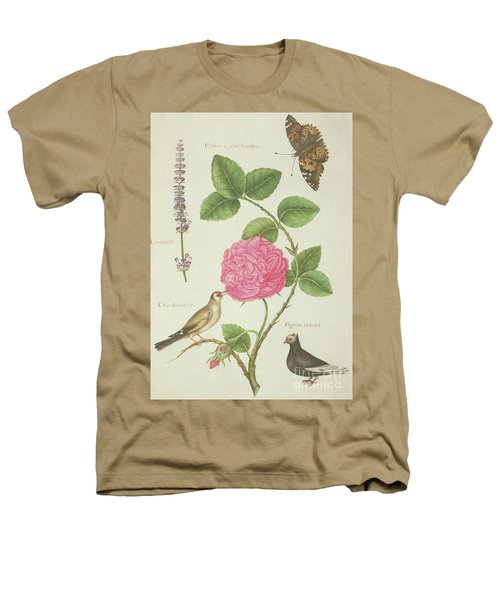 Centifolia Rose, Lavender, Tortoiseshell Butterfly, Goldfinch And Crested Pigeon Heathers T-Shirt by Nicolas Robert
